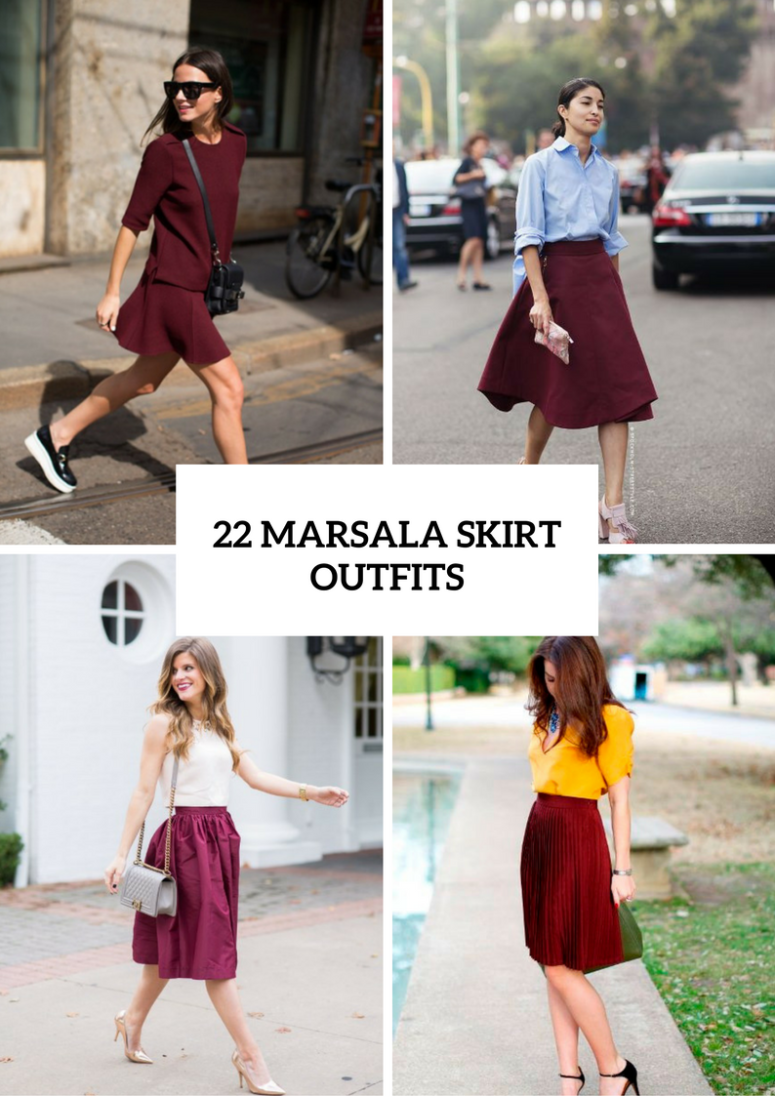 Marsala Skirt Outfits For Stylish Ladies