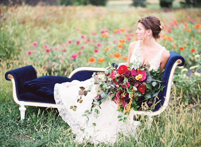 Flower field bridal portraits on a vintage lounge | Lauren Gabrielle Photography
