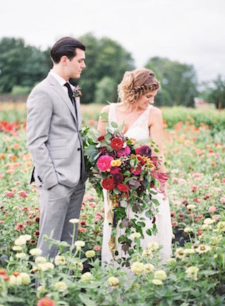 Field of flowers wedding portrait | Lauren Gabrielle Photography