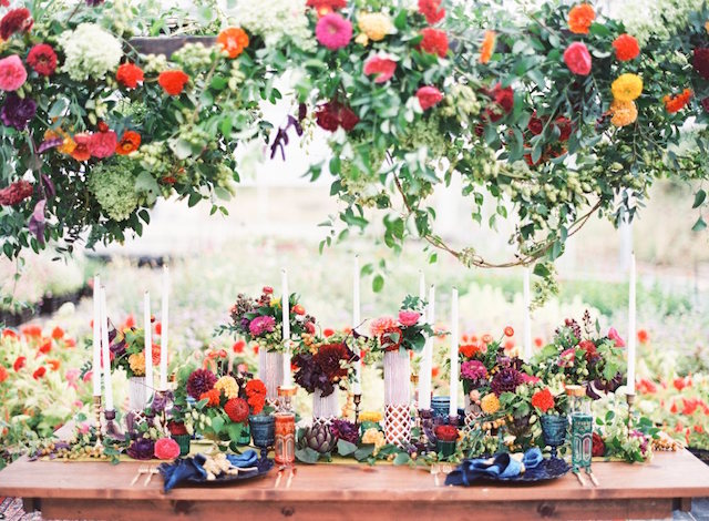 Jewel toned floral tablescape | Lauren Gabrielle Photography