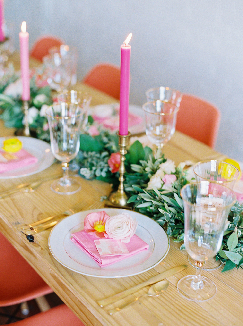 spring wedding receptions - photo by Jessica Gold Photography http://ruffledblog.com/vibrant-summer-wedding-inspiration-with-fun-colors