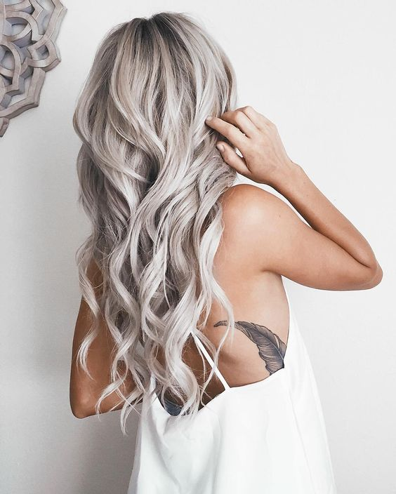 long silver blonde locks look very feminine and soft