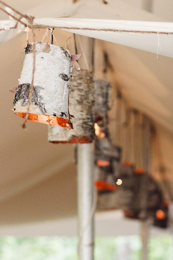 lamps covered with birch bark