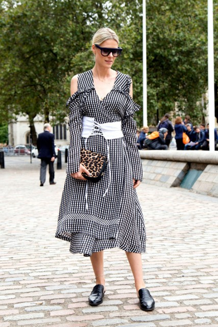 With checked midi dress, leopard clutch and black shoes