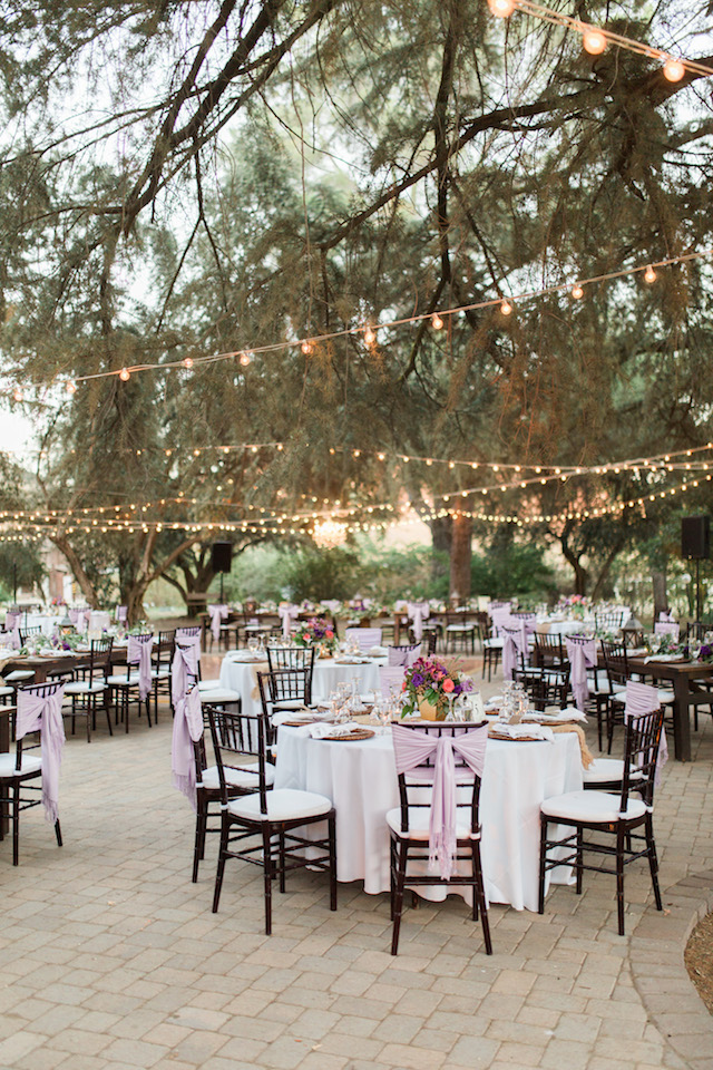 Outdoor bistro light wedding reception | Jenny Quicksall Photography
