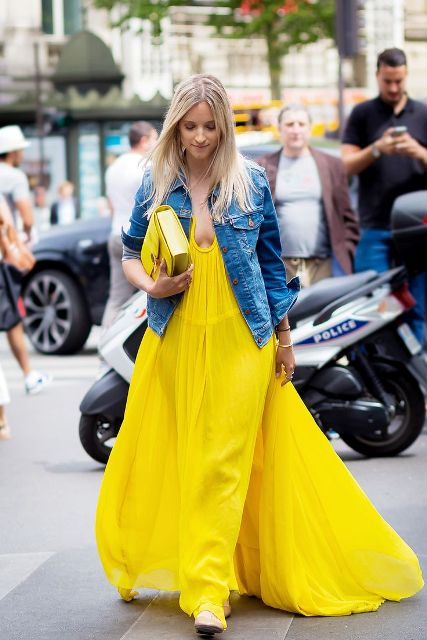 With denim jacket, yellow shoes and yellow bag