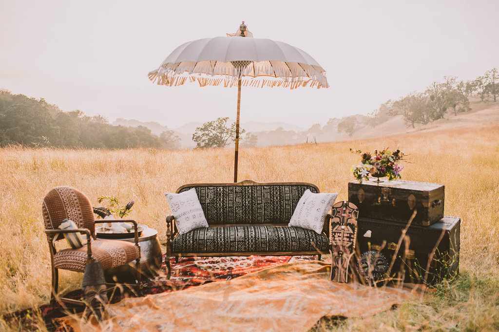 wedding lounge areas - photo by Michelle Roller http://ruffledblog.com/wild-safari-inspiration-shoot-with-a-jeep