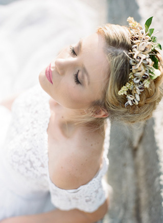 Updo with flower crown | Erika Parker Photography