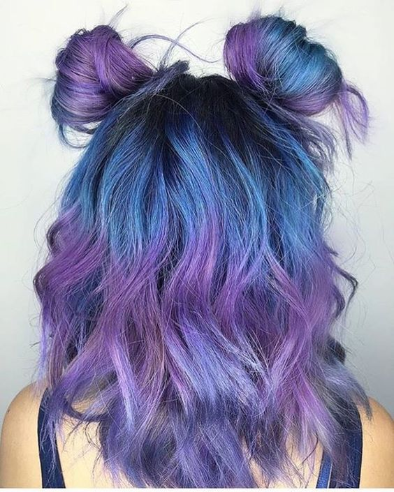 blue to purple ombre hair with light waves