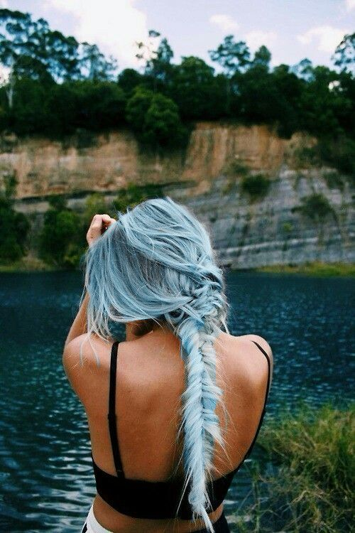powder blue hair looks very romantic