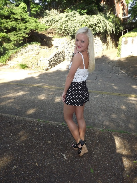 With white polka dot top and platform sandals
