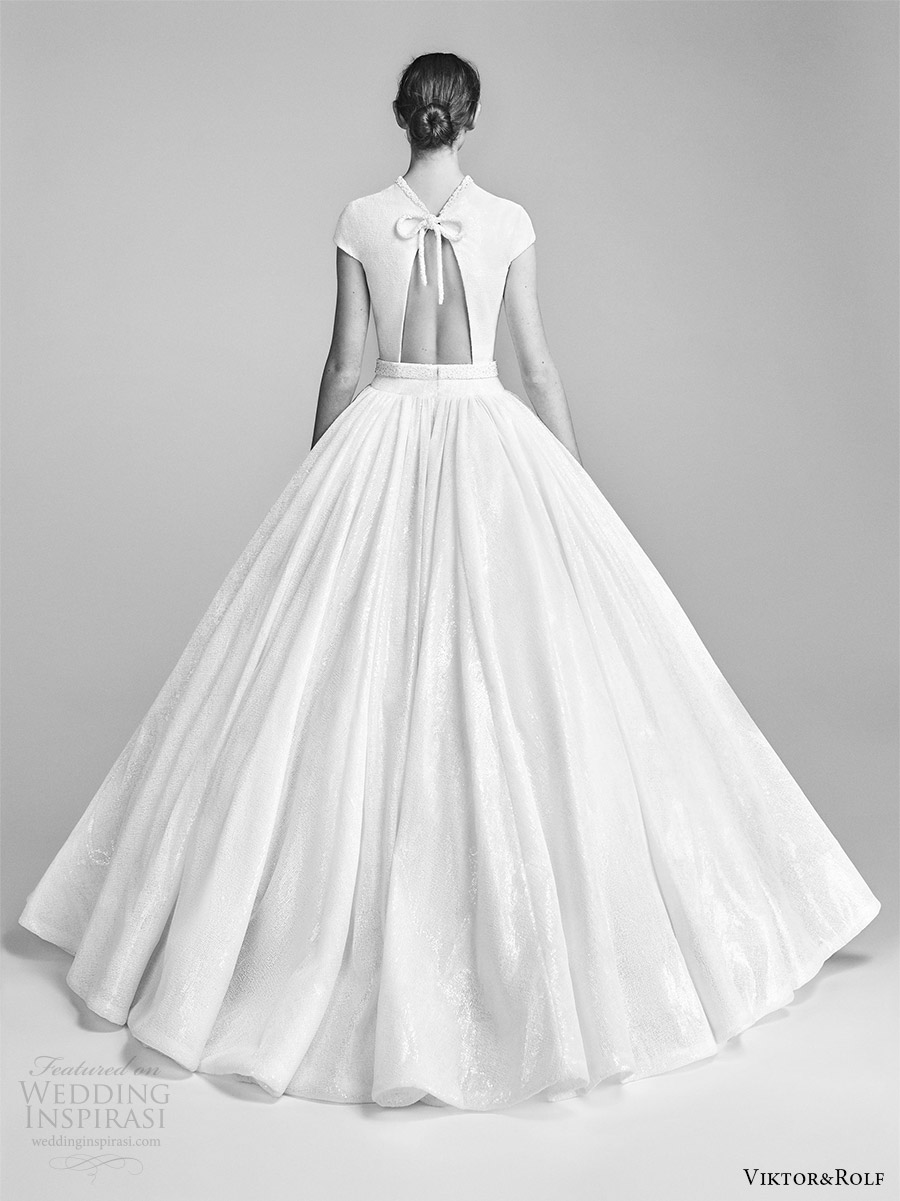 viktor and rolf spring 2018 bridal cap sleeves high neck drop waist ball gown wedding dress (10) bv romantic modern