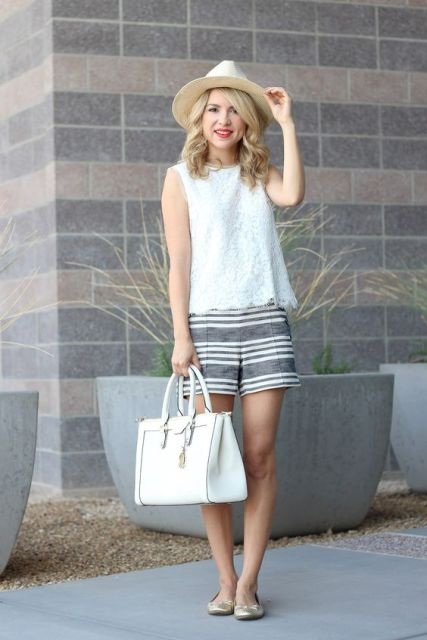 With white lace shirt, hat, white bag and flats
