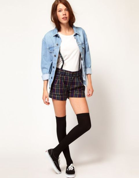 With white top, denim shirt and slip one shoes