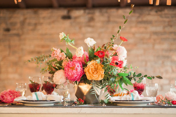 Colorful wedding centerpiece - Gideon Photography