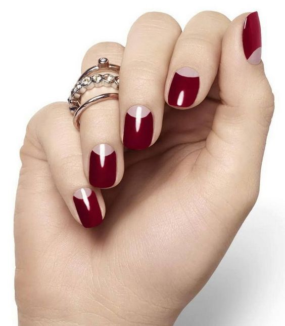 red half moon classic nails
