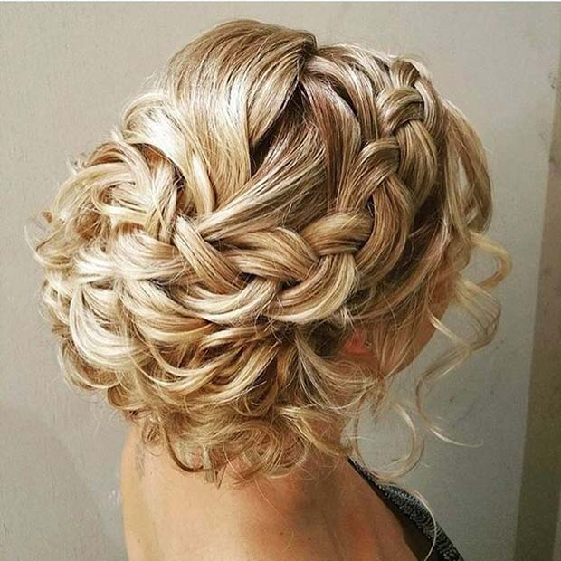 Blonde Braided Updo with Loose Curls for Prom