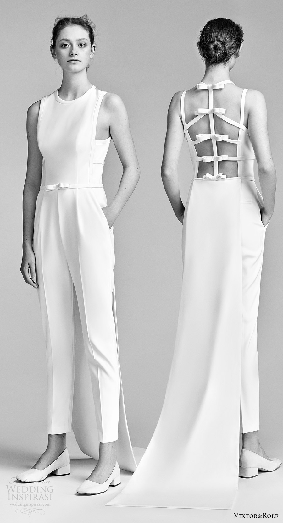 viktor and rolf spring 2018 bridal sleeveles jewel neck jumpsuit wedding dress (22) mv bv bow open back pocket train clean modern