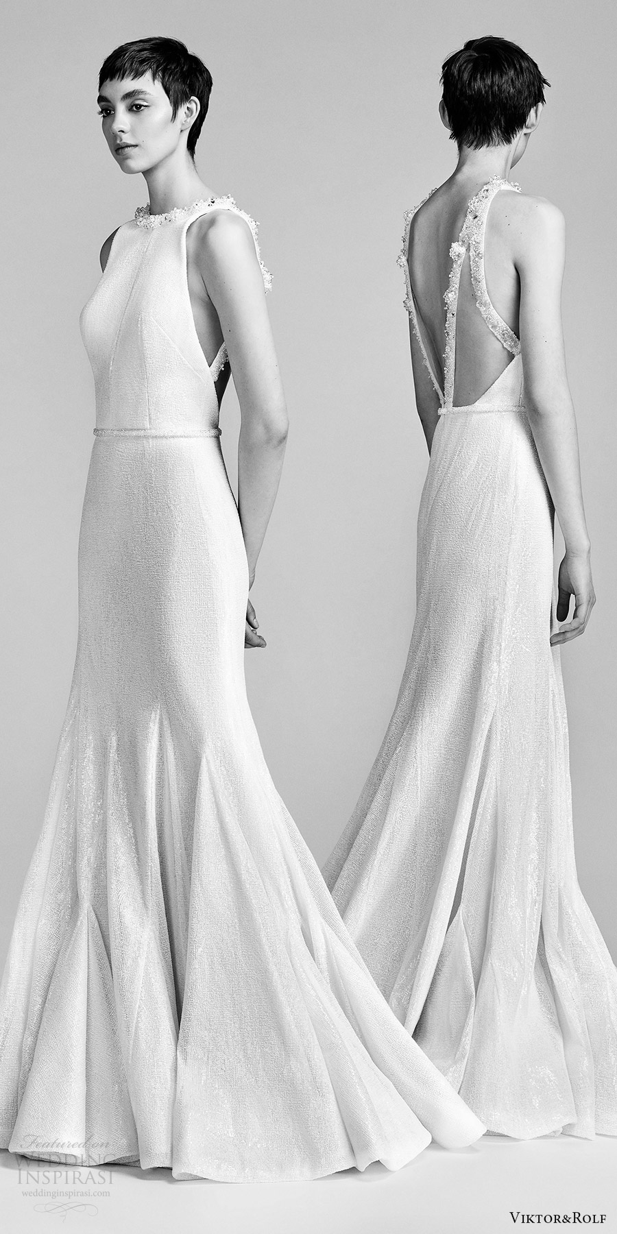 viktor and rolf spring 2018 bridal sleeveless jewel neck beaded neckline fit flare wedding dress (21) mv bv godet skirt open back modern