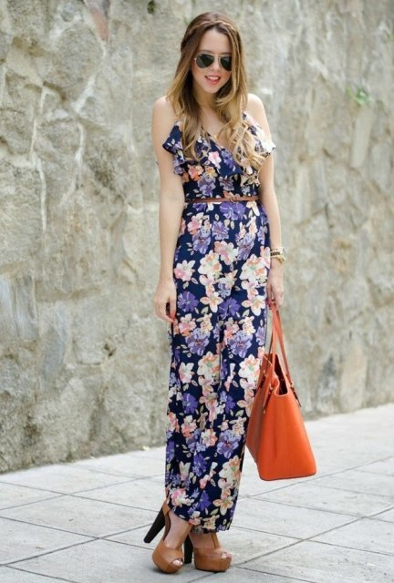 With orange tote and brown sandals