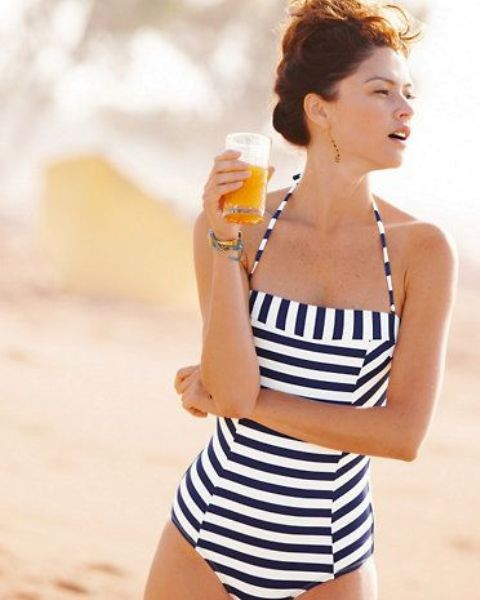 striped one piece swimsuit with vertical, diagonal and horizontal stripes