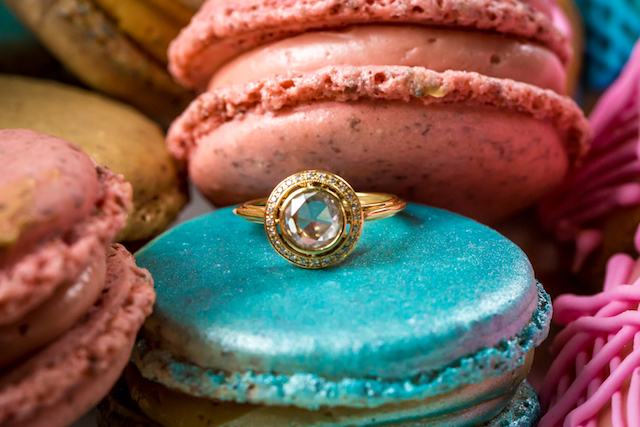 Turquoise macaron and engagement ring | Kristopher Lindsay Photography + Milk Glass Productions