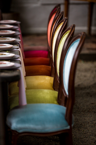 Rainbow velvet chairs | Kristopher Lindsay Photography + Milk Glass Productions