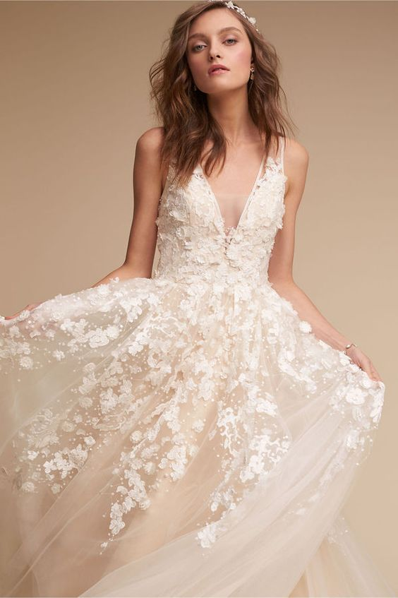 sheer tulle panel at the neckline and a dreamy ball skirt silhouette with white floral appliques