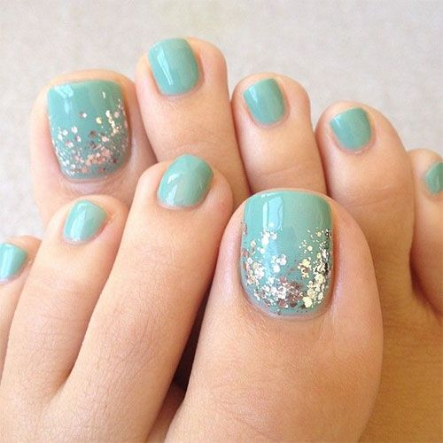 aqua toe nail with silver sequins