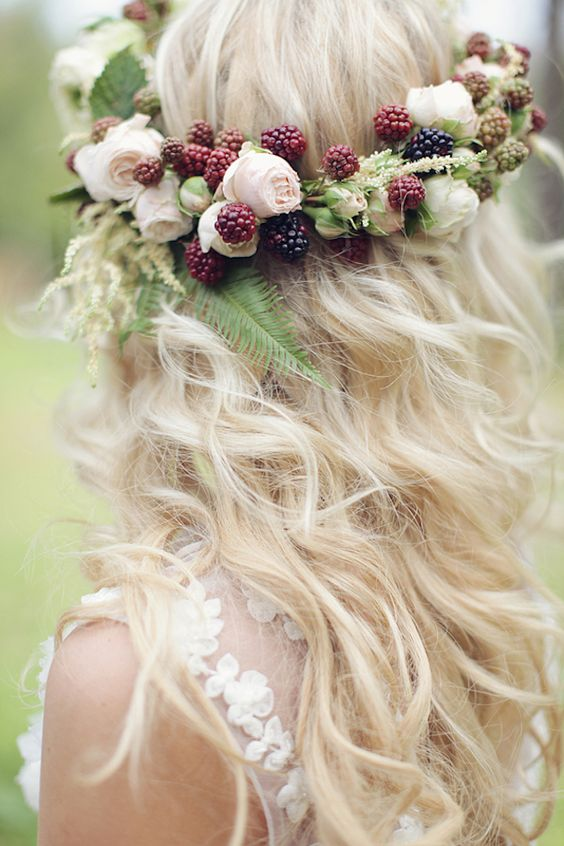 blush blooms and berry crown with fern for a woodland bride