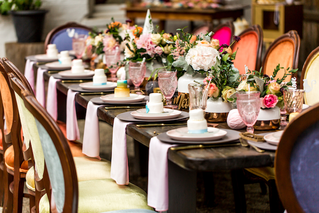 Mini cakes at each place setting   Kristopher Lindsay Photography + Milk Glass Productions
