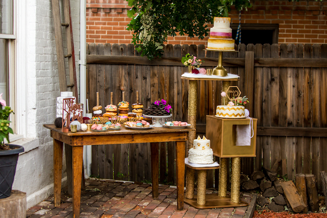 Bridal shower dessert display | Kristopher Lindsay Photography + Milk Glass Productions