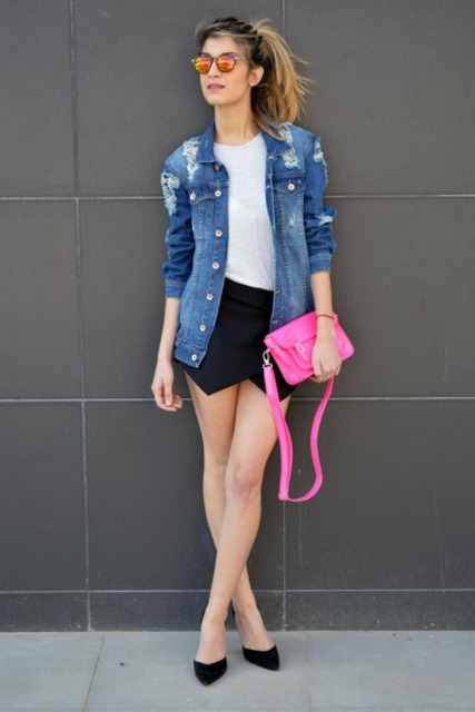 With white t-shirt, denim jacket, hot pink clutch and pumps