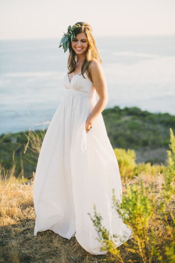 casual wedding dress with a V neck and spaghetti straps plus pockets