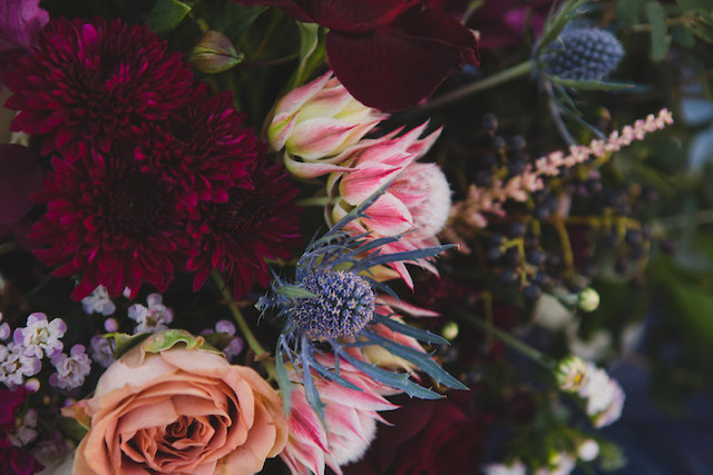 Thistle centerpiece | Just For Love Photography