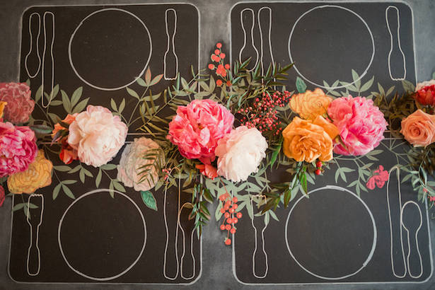 Chalkboard wedding table-scape - Gideon Photography