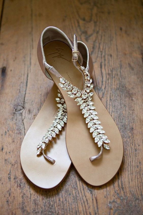 comfy crystal wedding sandals to add a sparkly touch to your look