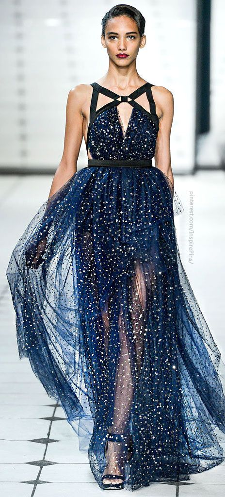 starry midnight blue wedding dress