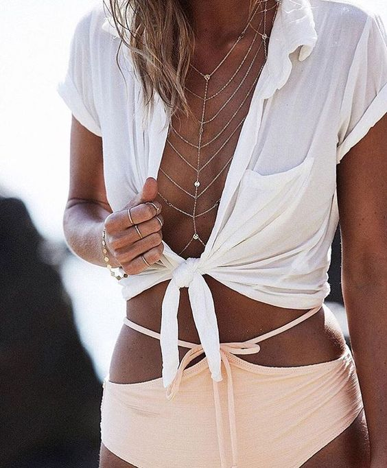delicate layered body chain with tiny sparkling beads