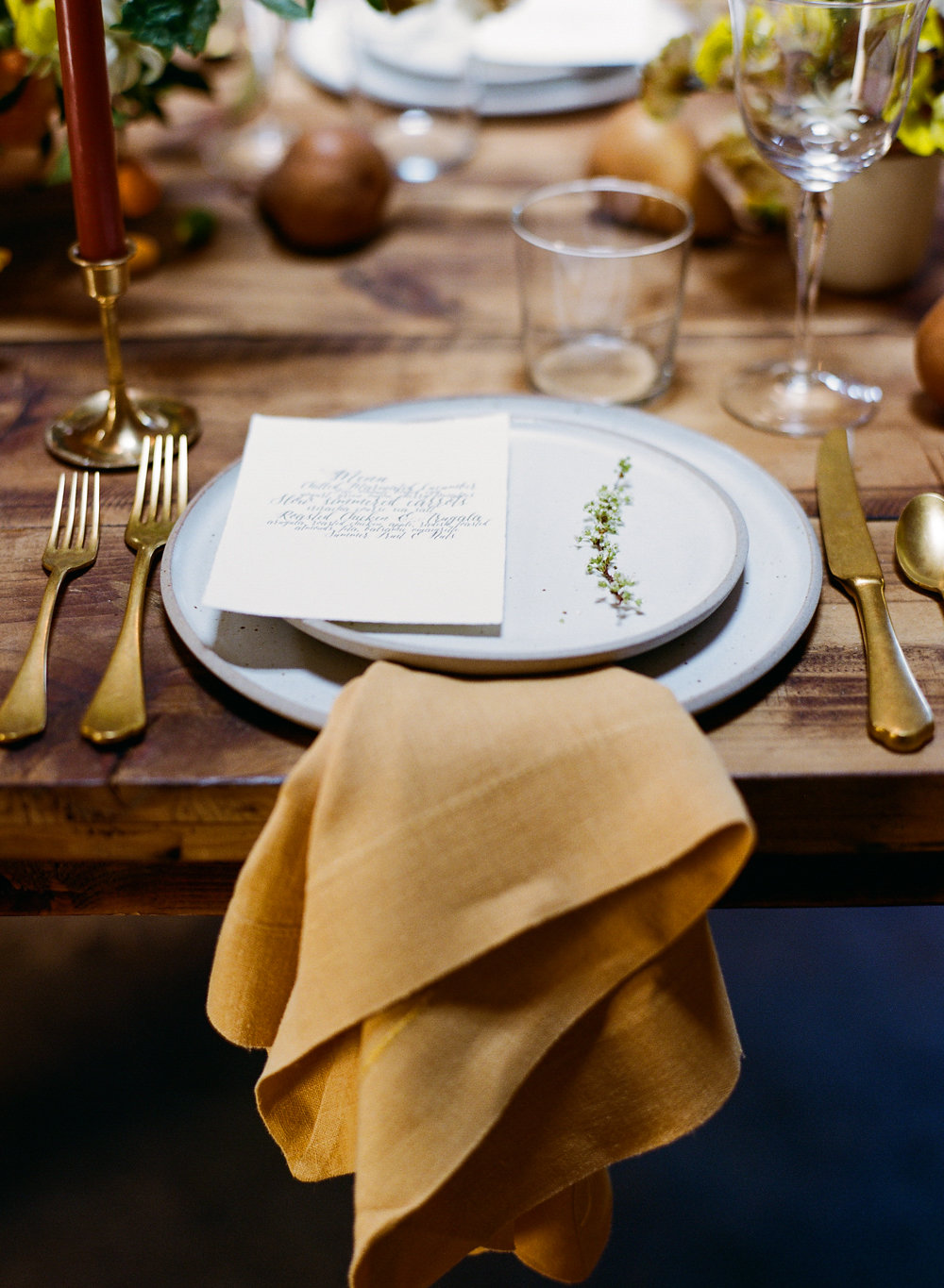 simple place settings - photo by Taken by Sarah Photography http://ruffledblog.com/intimate-rustic-chic-wedding-inspiration
