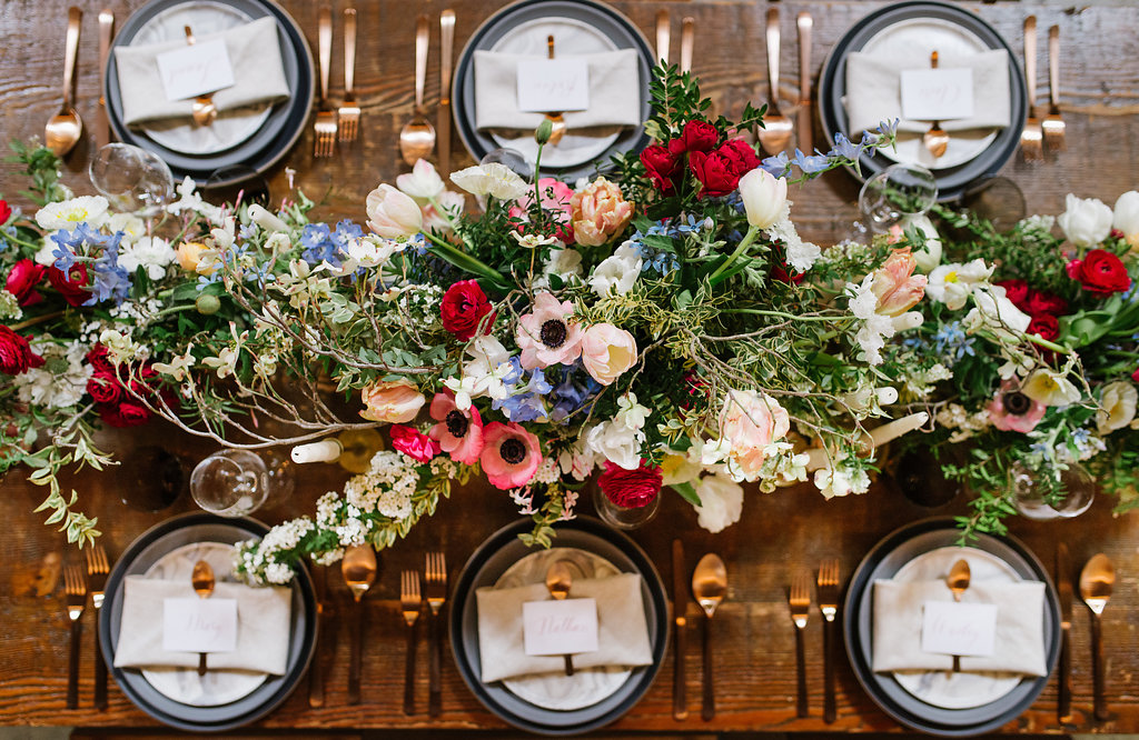wedding centerpieces with anemones - photo by Chelsea Dier Photography http://ruffledblog.com/modern-san-francisco-winery-elopement