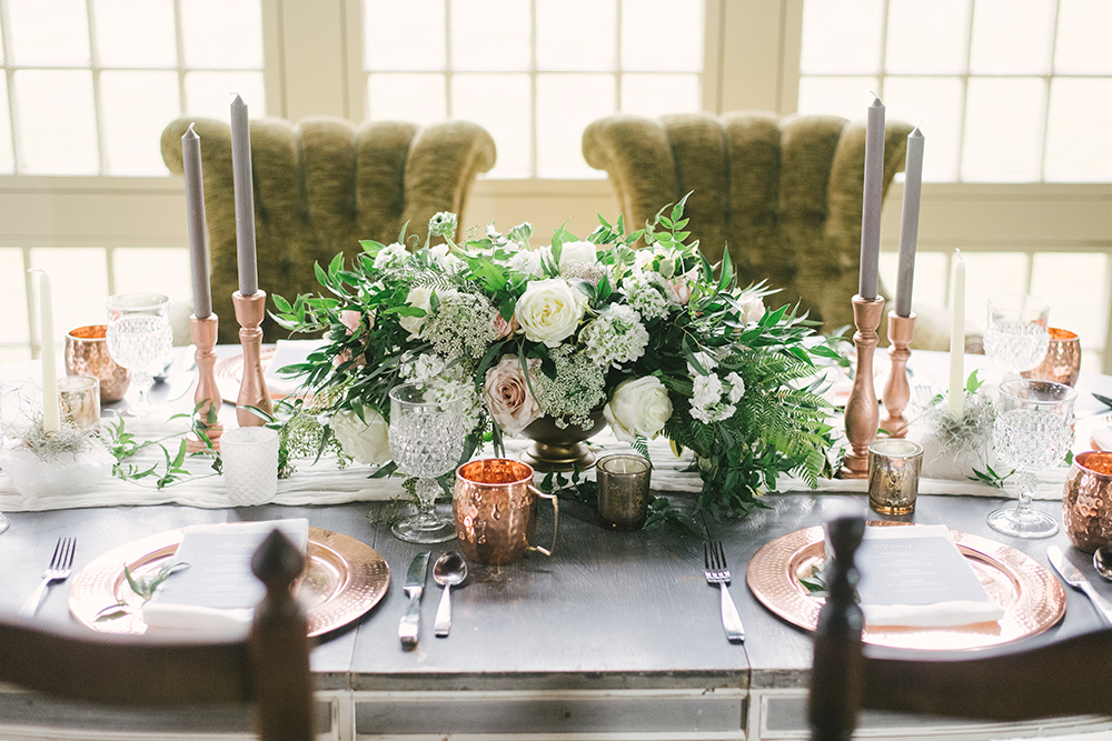 wedding centerpieces - photo by Alicia King Photography http://ruffledblog.com/upstate-new-york-wedding-ideas-with-copper