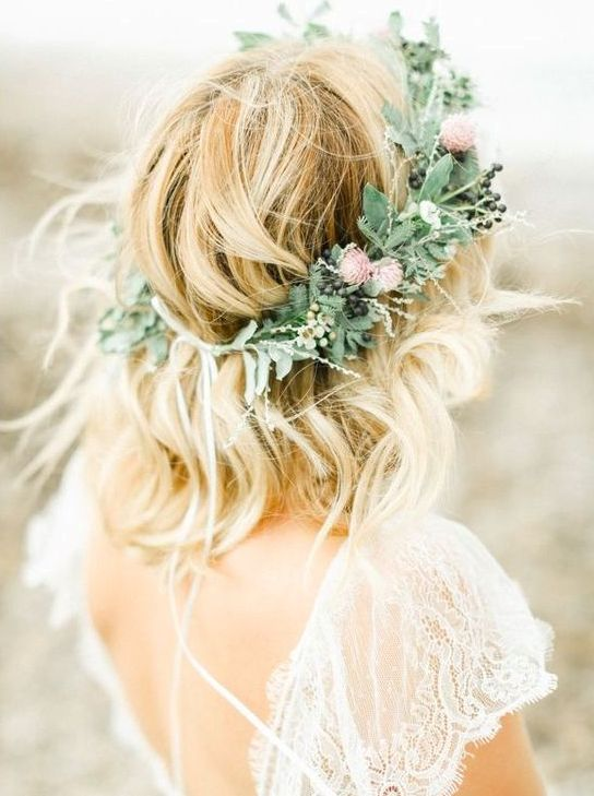 greenery, wildflowers and berry crown for a summer bride