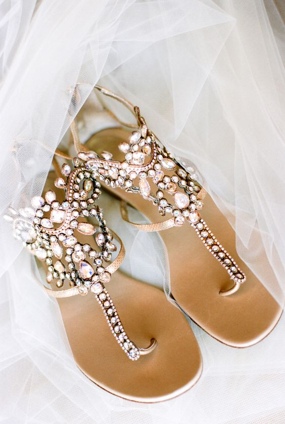 bejeweled thong wedding sandals with sparkling rhinestones