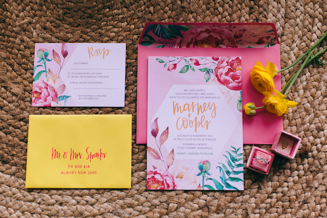 Floral themed bright and fun wedding invitations | Katie Hillary Photography