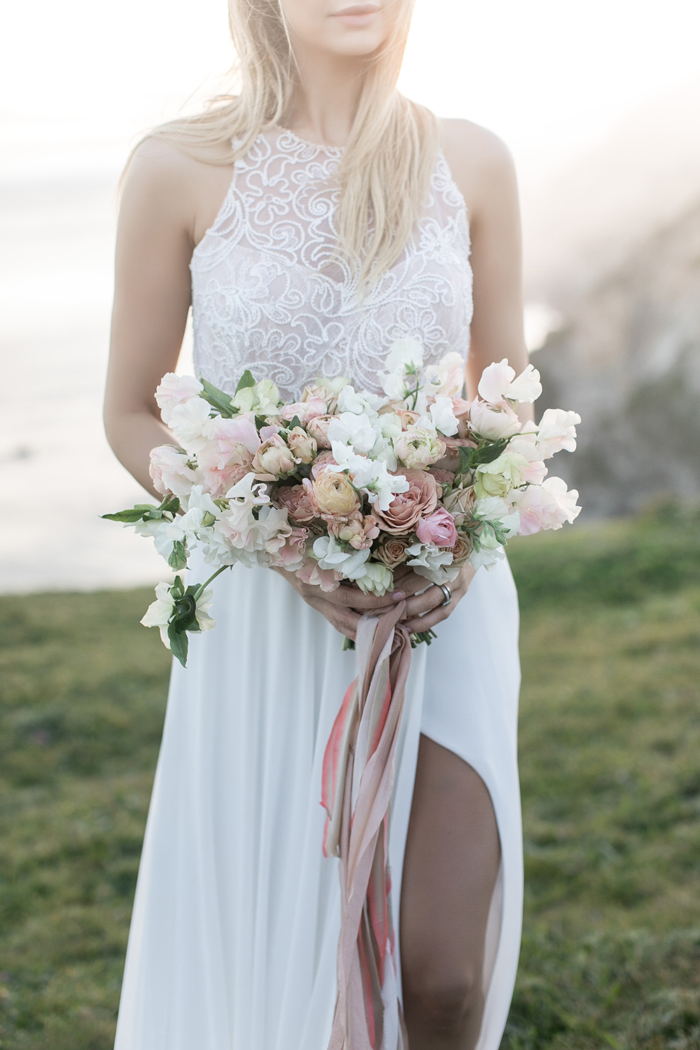 dusty bouquets - photo by Tyler Rye Photography http://ruffledblog.com/romantic-coastal-california-wedding-inspiration