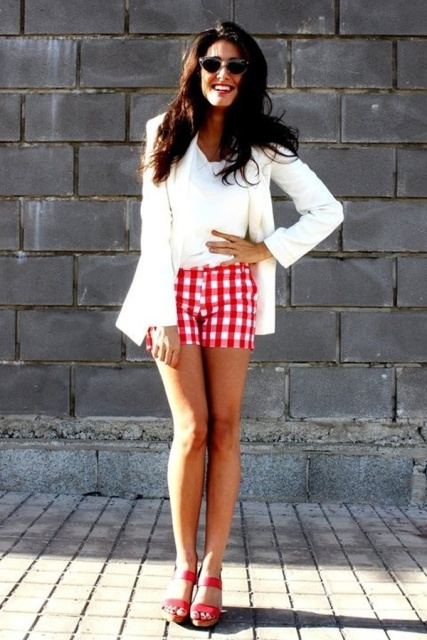 With white shirt, white jacket and red sandals