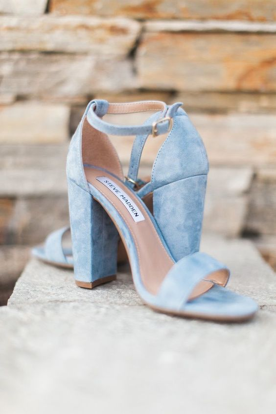 light blue suede wedding heeled sandals with comfy heels