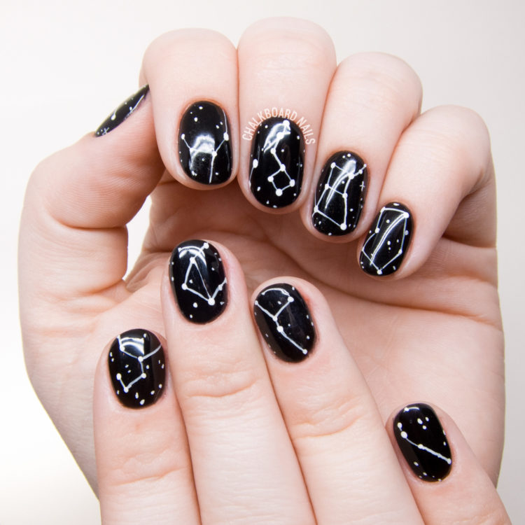 black and white constellation nail art