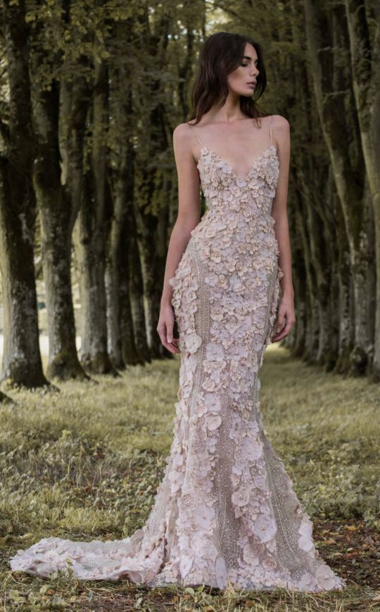 sparkling spaghetti strap wedding dress with blush floral appliques